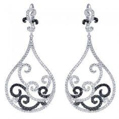 18k White Gold Diamond Black Diamond Drop Earrings  3.37 ct EG11621W84BD