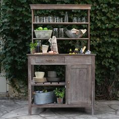 Potting Bench Style Hutch Used For Outdoor Living