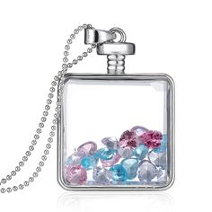 Fashion New Jewelry Romantic Transparent Crystal Glass Square Floating Locket Dried Flower Plant Specimen Golden/Silver Pendant Chain Necklace for Women Girls