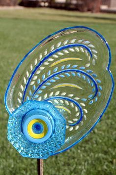 Glass Plate Garden art and Yard art  with recycled by GlassBlooms