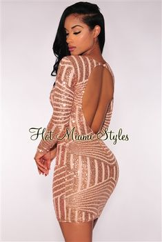Rose Gold Sequins Open Back Long Sleeves Dress Womens clothing clothes hot miami styles hotmiamistyles hotmiamistyles.com sexy club wear evening clubwear cocktail party kim kardashian dresses