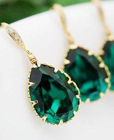 Emerald Swarovski Crystal Earrings from EarringsNation
