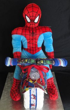 Marvel Comic/Spider-man Motorcycle Themed Diaper Cake www.facebook.com/DiaperCakesbyDiana