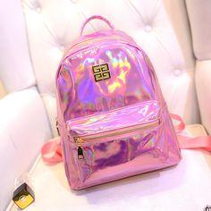 Hot Sale Women Silver Hologram Laser Backpack For Teenage Girls Fashion Shoulder Bags School Bookbags Mochila Masculina Backpack Cute Backpacks, Girl Backpacks, School Backpacks, Colorful Backpacks, Backpack Purse, Mini Backpack, Cute Purses, Purses And Bags, Fashion Bags