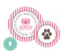 INSTANT DOWNLOAD Puppy Party Circles // Party Printables // Pink Puppy Party Ideas // Paige Simple // www.paigesimple.com