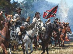 """ACW Confederate: """"Vengeance at Okolona"""", Major General Nathan Bedford Forrest - by John Paul Strain. - Visit to grab an amazing super hero shirt now on sale! Military Art, Military History, American Civil War, American History, Civil War Art, Southern Heritage, Southern Pride, Confederate States Of America, Confederate Flag"""