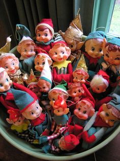 "Collection of Vintage ""Christmas Knee-hugger Elves"" . Christmas Past, All Things Christmas, Christmas Holidays, Christmas Crafts, Christmas Decorations, Christmas Mantles, Christmas Photos, Vintage Christmas Ornaments, Retro Christmas"