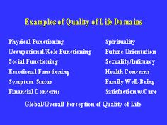 Examples of Quality of Life Domains