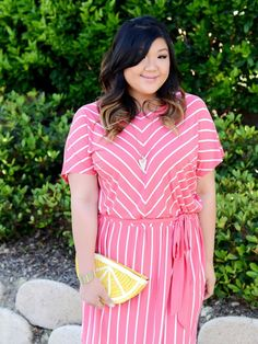 2d2c41356d9 Curvy Girl Chic Plus Size Fashion Blog Target Ava and Viv Striped Outfit  Ideas Coral Striped