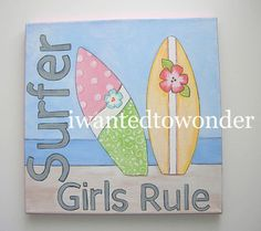 SALE .. North Shore Island SURF .. 12x12 Nursery Artwork ... Wall Art Canvas Original Painting for Girls Kids Room to match Bedding. $39.99, via Etsy.