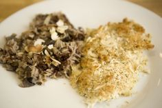 Almond-Crusted Sole with Mushroom Pilaf for Two #SundaySupper