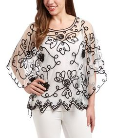 517628dc506e26 Loving this White & Black Sheer Embroidered Silk-Blend Top - Women on