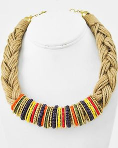 Burnished Gold Tone / Multi Color Seed Beads & Beige Braided Cord / Lead Compliant / Multi Strand / Necklace