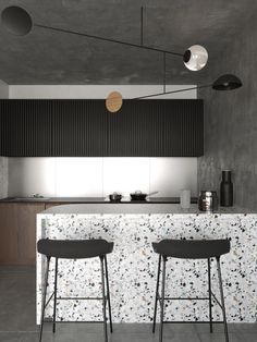 Terrazzo finishes are having a major comeback these days, and they're also a sustainable choice. Discover why + 4 examples of modern terrazzo! Modern Kitchen Design, Modern Interior Design, Interior Design Kitchen, Pantry Interior, Minimal Kitchen, Home Decor Kitchen, New Kitchen, Home Kitchens, Kitchen Lamps