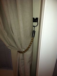 DIY rope curtain tie backs with hardware