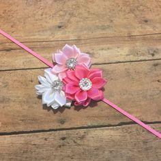 Light pink, hot pink and white  rhinestone flower headband on thin elastic Headband - Newborn Baby - Litte Girls Hair band - dainty girlie by BBgiftsandmore on Etsy