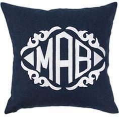 Luxury Monogrammed Navy Linen Throw Pillow