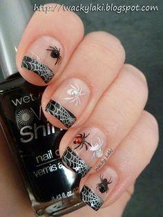 Halloween spiders nail art