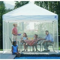 E-Z UP Express II 10 by 10 Screen Room (Screen only- Canopy not included) by E-Z UP. $61.59. It is portable enough to be an ideal addition to your next outdoor party or sporting event. E-Z Up screen enclosure one-piece netting easily attaches to enclose your shelter and protect against flying insects. E-Z Up enclosure screen mesh is UV / fire resistant with a heavy duty zipper that acts as a door. 2-year warranty; measures 10 by 10 feet. Includes screen carry ...