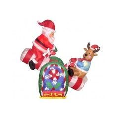 christmas animated inflatable santa claus 4ft reindeer outdoor yard decoration