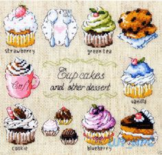 """Cup Cakes"" Counted cross stitch chart.(pattern leaflet)"