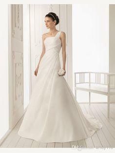 2014 White A Line One Shoulder Backless Satin Wedding Dresses Bridal Gowns rs Online Shop