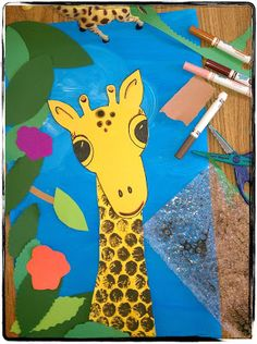 giraffes can't dance - print, collage and painting(?)