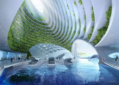 Architect Envisions Future Underwater City Built From 3D-Printed Waste-13 Serenity and Sky come in on a boat
