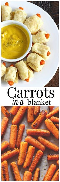Carrots in a Blanket! A healthy, more delicious alternative to pigs in a blanket… – Vegan Veggie Appetizers, Veggie Recipes, Appetizer Recipes, Whole Food Recipes, Vegetarian Recipes, Cooking Recipes, Healthy Recipes, Party Appetizers, Party Snacks