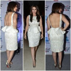 Parineeti Chopra in an ivory Varun Bahl dress with metallic Louboutins and a pearl and rose ring from Sapphire.