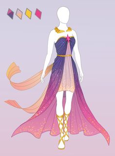 CLOSED Fashion adoptable ~ Twily-ish dress by Ayleidians Anime Kimono, Anime Dress, Fashion Design Drawings, Fashion Sketches, Anime Outfits, Dress Outfits, Style Feminin, Illustration Mode, Dress Sketches