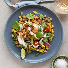 Paprika Lime-Rubbed Chicken with Smoky Chickpeas, Corn and Tomatoes