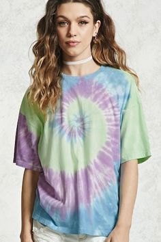 Oversized Tie-Dye Wash Tee - Tops - Blouses + Shirts - 2000322376 - Forever 21 EU English