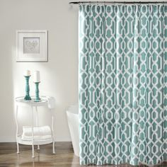 Features:These trendy trellis pattern shower curtains will spruce up any bathroom. Part of the Edward Collection.Edw...