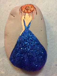 Lady with glitter dress  painted rock idea