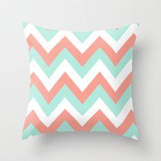 MINT & CORAL CHEVRON Throw Pillow by n a t a l i e  - $20.00