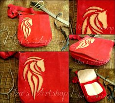 Fantasy Raspberry Suede Messenger Bag with a Horse by izasartshop.deviantart.com on @deviantART