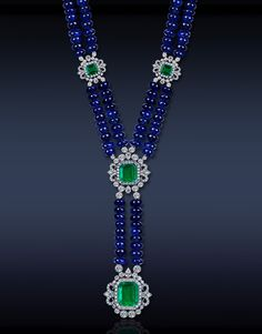 A Breathtaking Sapphire Bead Necklace, Featuring: GRS Certified 415.67 Ct Blue Sapphire Beads, 10.25 Ct Emeralds and 5.52 Ct White Diamonds Set in Platinum.