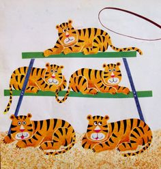 Tiger print 1969 book page.  Yellow Nursery Decor by accoladefive