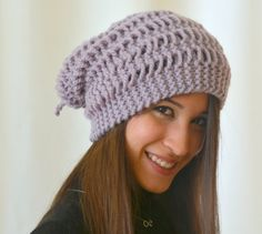 Hand knit hat slouchy hand knit lilac women hat by bstyle on Etsy, $25.00
