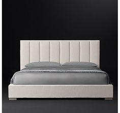 Vertical Channel Panel Fabric Platform Bed