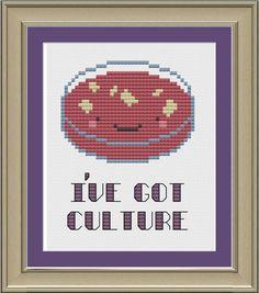 I've got culture: nerdy bacteria cross-stitch pattern. $3.00, via Etsy.
