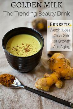 Golden turmeric milk / Golden Milk: The Trending Beauty Drink (For Healthy skin, hair and nails..)