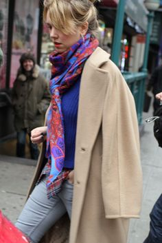 They Are Wearing: Shopper Style - Slideshow - WWD.com. colour combi. camel, blues, red/pink