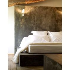 simple textured concrete headboard
