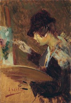 hat. Young Painter at her Easel, Alessandro Milesi. Italian (1856 - 1945)