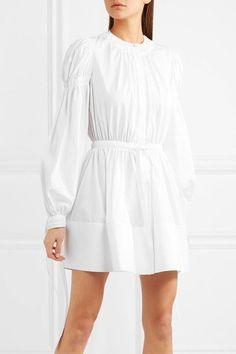 Alexander McQueen   Gathered cotton-poplin mini dress   NET-A-PORTER.COM