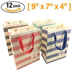 "Gift Bags Medium 12 pcs Shopping Paper Bag 9"" x 7"" x 4"" [inch] Party Birthday Gift Bags"