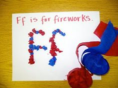 """Centers and Circle Time: Preschool Activity: """"F"""" is for Fireworks"""