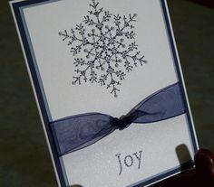 Embossed Handmade Christmas Card - Stampin Up THE SNOWFLAKE